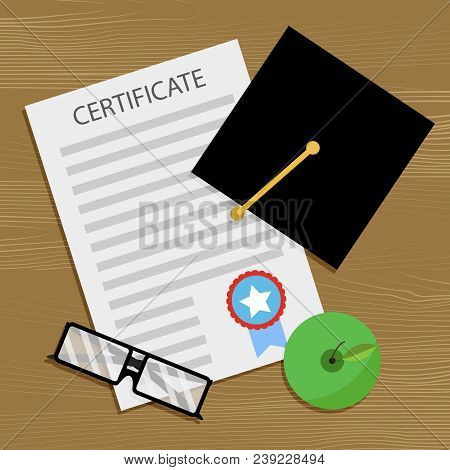 Bachelor Degree And Certificate. Education Diploma, School Achievement, College Graduate Bachelor. V