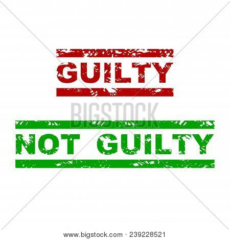 Guilty And Not Guilty Rubber Stamp. Badge Justified Grunge, Emphasize Grungy Text For Justice. Vecto