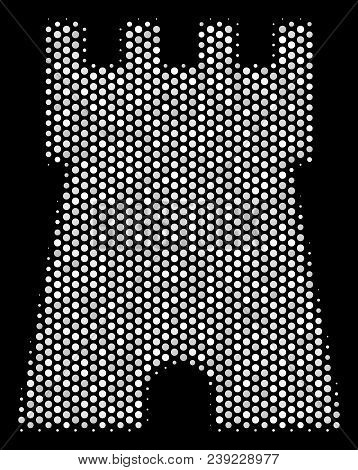 Pixel White Bulwark Tower Icon On A Black Background. Vector Halftone Composition Of Bulwark Tower P