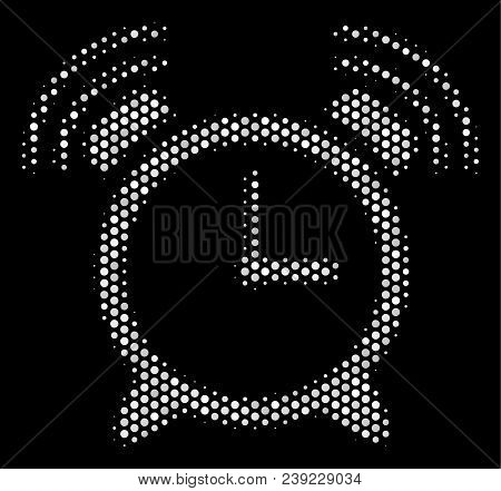Pixel White Buzzer Icon On A Black Background. Vector Halftone Concept Of Buzzer Symbol Combined Wit