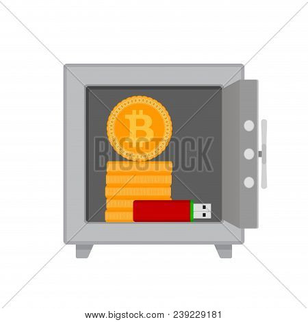 Safe With Bitcoin Coins And Flash Drives. Bitcoin Money In Business Safe, Coin Virtual Finance, Vect