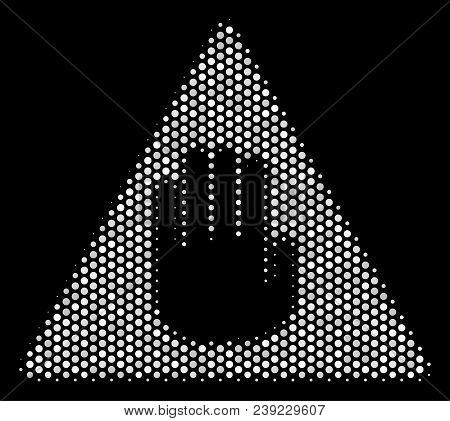 Dot White Caution Icon On A Black Background. Vector Halftone Pattern Of Caution Icon Organized With