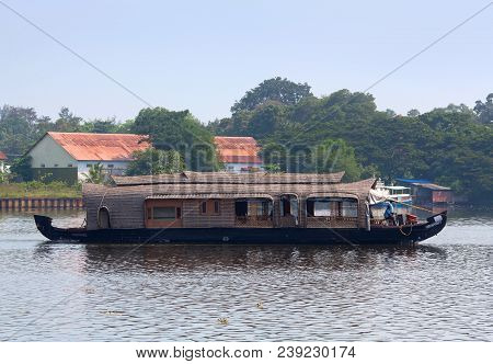 Alleppey, India - November 6, 2016: Tourists On Houseboat Floating On Backwaters In Kerala State