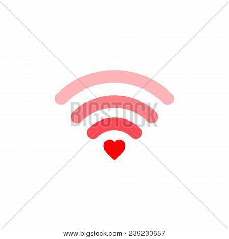 Heart Wifi. Vector Heart Connect Icon In Flat Style. Heart Signal. Love Connection. Wifi Hotspot Sig