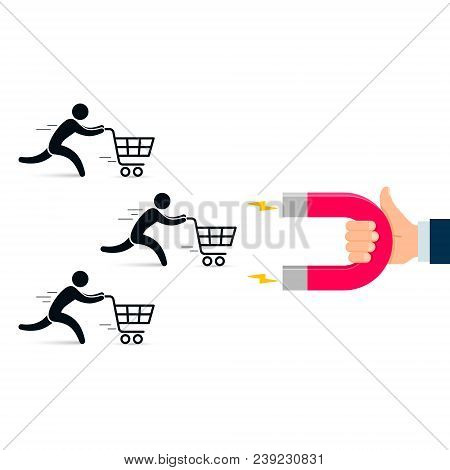 Magnet Attract Customers Illustration. Vector Business Conept.