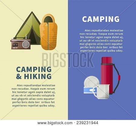 Camping And Hiking Club Information Posters Templates For Summer Camp Adventure. Vector Camping Tent