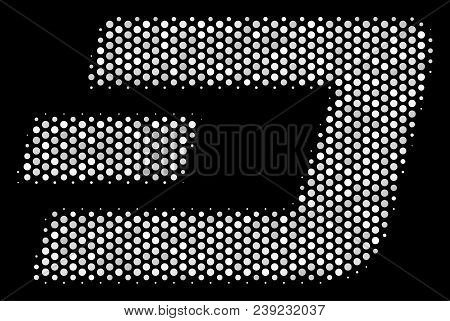 Pixel White Dash Currency Icon On A Black Background. Vector Halftone Pattern Of Dash Currency Picto