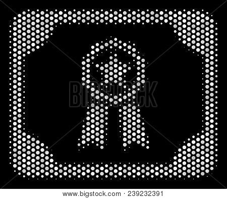 Dotted White Diploma Icon On A Black Background. Vector Halftone Concept Of Diploma Pictogram Formed