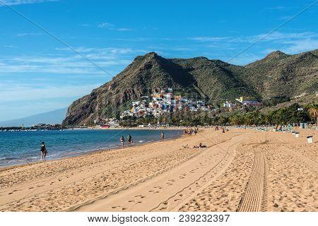 Santa Cruz De Tenerife, Canary Islands, Spain - Desember 11, 2016: Playa De Las Teresitas, A Famous