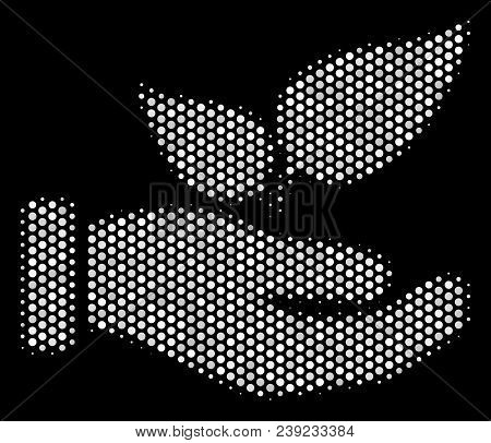 Dotted White Eco Startup Hand Icon On A Black Background. Vector Halftone Mosaic Of Eco Startup Hand