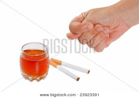The hand rejects cigarette and alcohol. Stop smoking and drinking. poster