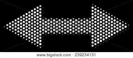 Pixel White Exchange Arrows Icon On A Black Background. Vector Halftone Mosaic Of Exchange Arrows Sy