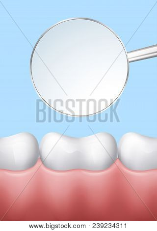 White Teeth In Gums With Dental Mirror, Esp 10 Contains Transparency.