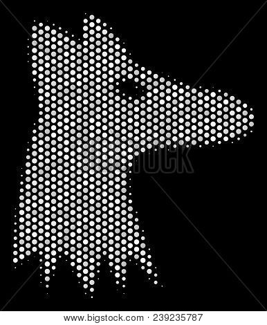 Pixelated White Fox Head Icon On A Black Background. Vector Halftone Mosaic Of Fox Head Icon Organiz