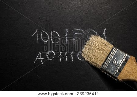 The Brush Erases The Cipher Written On The Blackboard With Chalk When Encrypting The Code.