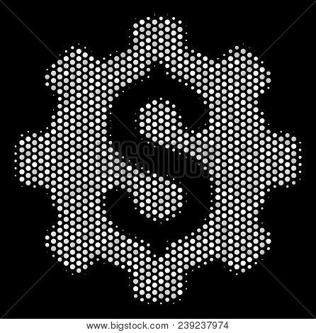 Dotted White Industrial Capital Icon On A Black Background. Vector Halftone Mosaic Of Industrial Cap
