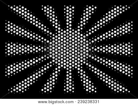 Dot White Japanese Rising Sun Icon On A Black Background. Vector Halftone Mosaic Of Japanese Rising