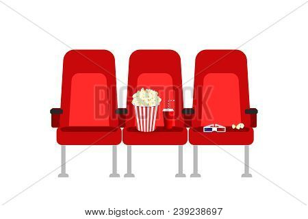 Cinema Seats In A Movie With Popcorn, Drinks And Glasses. Flat Vector Cartoon Cinema Seats Illustrat