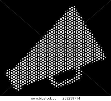 Dotted White Megaphone Icon On A Black Background. Vector Halftone Illustration Of Megaphone Pictogr
