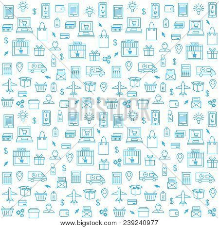 Seamless Pattern With Online Shopping Icons In Thin Line Style. Collection Of Line Web Icons Of Onli