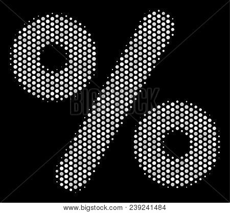 Pixelated White Percent Icon On A Black Background. Vector Halftone Composition Of Percent Symbol Or