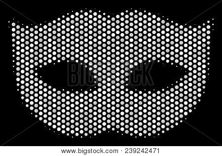 Dotted White Privacy Mask Icon On A Black Background. Vector Halftone Illustration Of Privacy Mask I