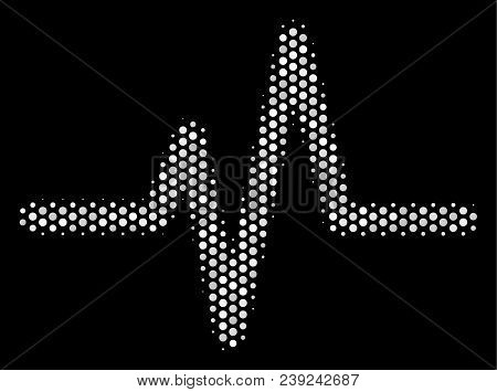 Pixel White Pulse Icon On A Black Background. Vector Halftone Concept Of Pulse Icon Formed With Roun