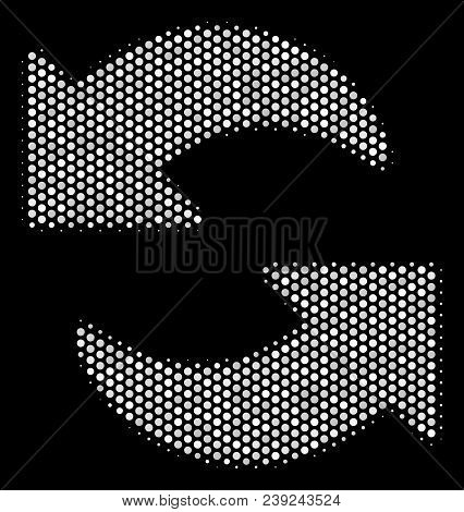 Pixelated White Refresh Icon On A Black Background. Vector Halftone Concept Of Refresh Symbol Formed