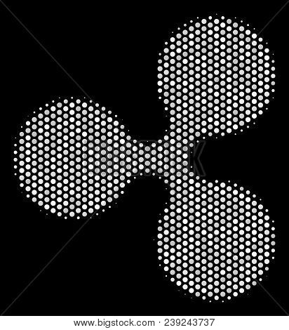 Dot White Ripple Currency Icon On A Black Background. Vector Halftone Mosaic Of Ripple Currency Pict