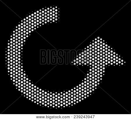 Pixelated White Rotate Icon On A Black Background. Vector Halftone Illustration Of Rotate Pictogram