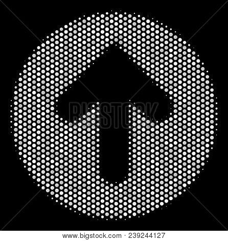 Pixelated White Rounded Arrow Icon On A Black Background. Vector Halftone Collage Of Rounded Arrow P