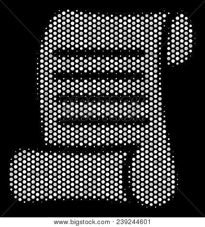 Dotted White Script Roll Icon On A Black Background. Vector Halftone Illustration Of Script Roll Sym