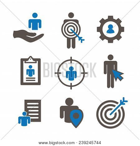 Target Market Icons Of Buyer Image And Persona  W Gear, Arrow, Nurturing Leads