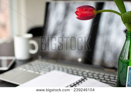 work desk at home with beautiful tulip, tranquil writing scene with technology to freelance work at home using laptop computer, mobile device, internet technology, next to coffee mug with blank open notebook pages on desk conceptual positive work environm