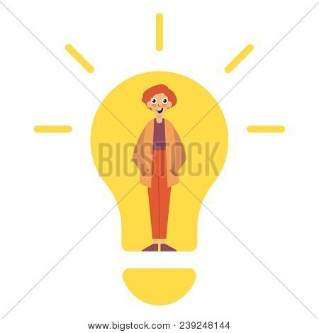 Idea Concept, Lamp Head Businessman Have Got An Idea His Head Full Of Great Light. Idea Concept. Aha