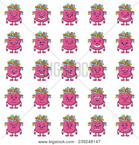 Set Of Funny Monsters Smilies, Symbolizing Various Human Emotions And Moods, Cartoon Pink Characters