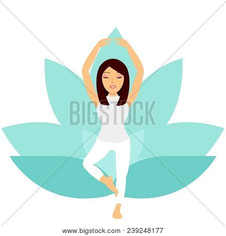 Young Woman Doing Yoga Exercise Tree-pose Isolated On White Background. Sports Girl Is Smiling While