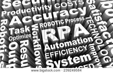 RPA Robotic Process Automation Job Work Task Efficiency Words 3d Render Illustration