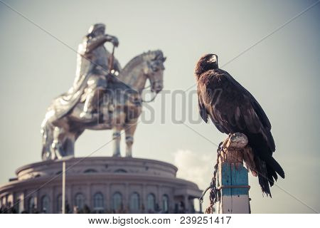 Vulture And Genghis Khan Monument At Zonjin Boldog Mongolia.