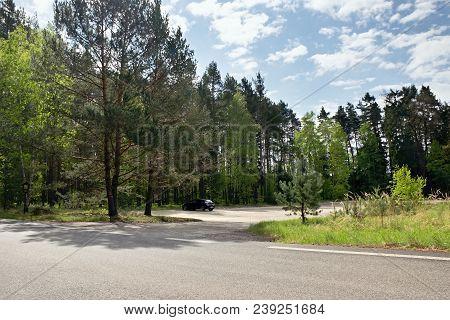 Stare Splavy, Czech Republic - April 26, 2018: Black Car Opel Astra H On Abandoned Sandy Parking Lot