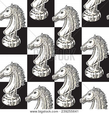 White Chessman Knight Seamless Pattern On A Black And White Chess Board Background