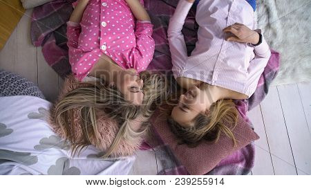 Friendship Bff. Fun Leisure Pastime. Friends Communication. Young Teenage Mates At Home Lying On The