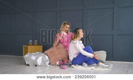 Friendship Bff. Fun Leisure. Girls Hair Styling Beauty Time. Best Mates Communication Trust Closenes