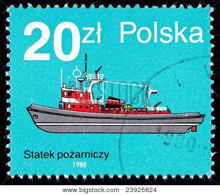 Canceled Polish  Postage Stamp Side View Red Fire Boat Tug Poland