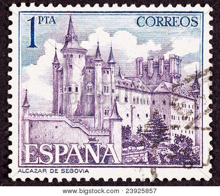 Stamp Segovia Castle, Spain, Ornate Fortification