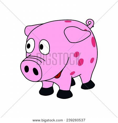 Sweet Little Pink Piggy With Funny Face