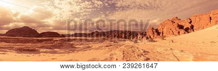 Panorama of Sand and rock desert Sinai, Egypt, Africa poster