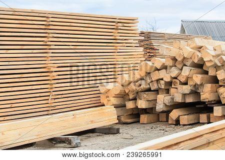 Eaves Pine  Board In Stacks Outside Timberwork