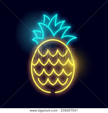 A Glowing Neon Pineapple Light Sign. Layered Vector Illustration.