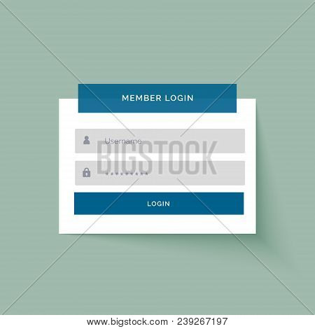 Flat Sticker Style Member Login User Interface Design